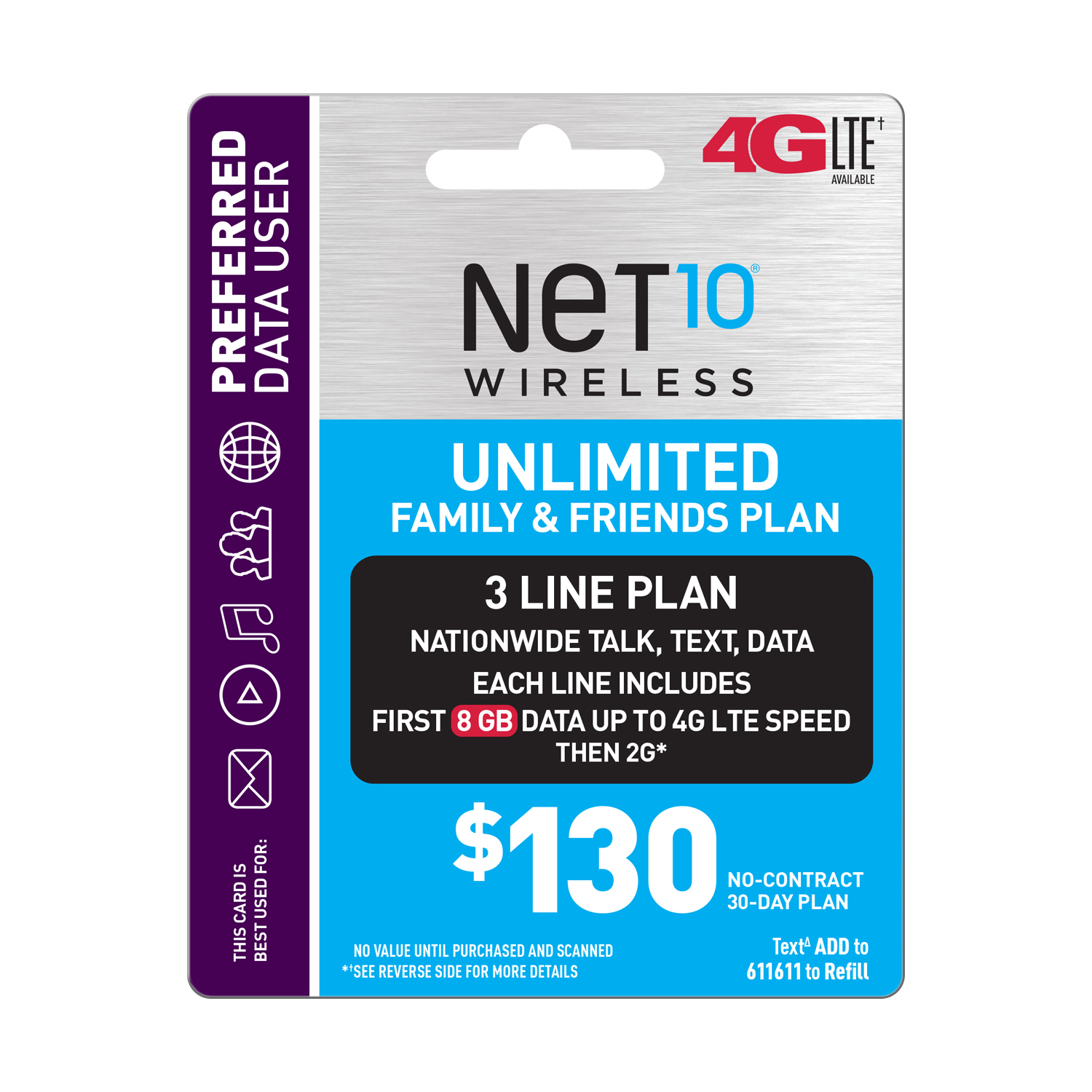 Net10 $130 Unlimited Family & Friends Plan for 3 Lines (8GB of data per line at high speeds, then 2G*) (Email Delivery)