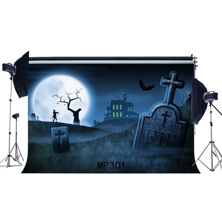 MOHome Polyster 7x5ft Photography Backdrop Halloween Horror Night Mysterious Moon Castle Bat Tombstone Newborn Baby Toddler Adults Masquerade Portraits Background Photo Studio Prop