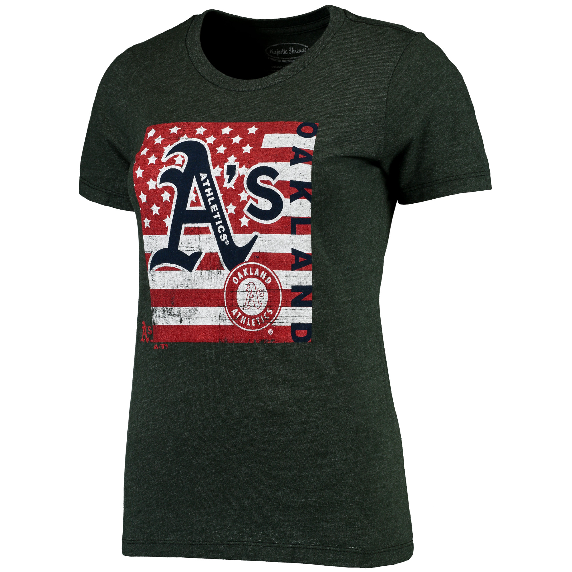 Oakland Athletics Majestic Threads Women's Stars & Stripes Flag T-Shirt - Green