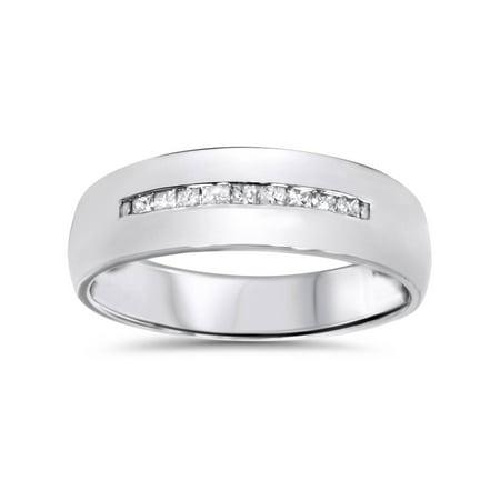 Mens 5.5mm 1/6ct Princess Cut Diamond Wedding Ring 10K White Gold