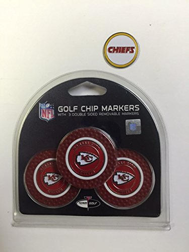 Kansas City Chiefs 3- PACK Golf POKER CHIPS, with markers, BONUS MARKER FREE by