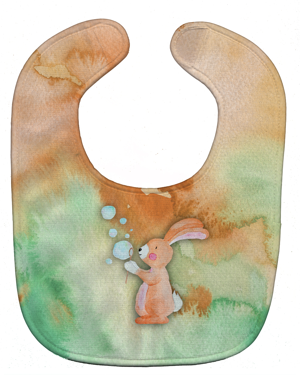 Rabbit and Bubbles Watercolor Baby Bib