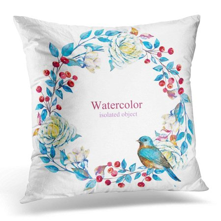 ARHOME White Hand Watercolor Floral Wreath with Red Berries Flowers Roses Pale Blue Winter with Bird Crown Pillow Case Pillow Cover 20x20 inch (Red Rose Wreath)