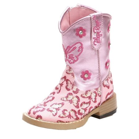 Pink Cowgirl Boots For Toddlers (Blazin Roxx 4451030-3 Pecos Glitter Cowgirl Boot Square Toe, Pink - Size)