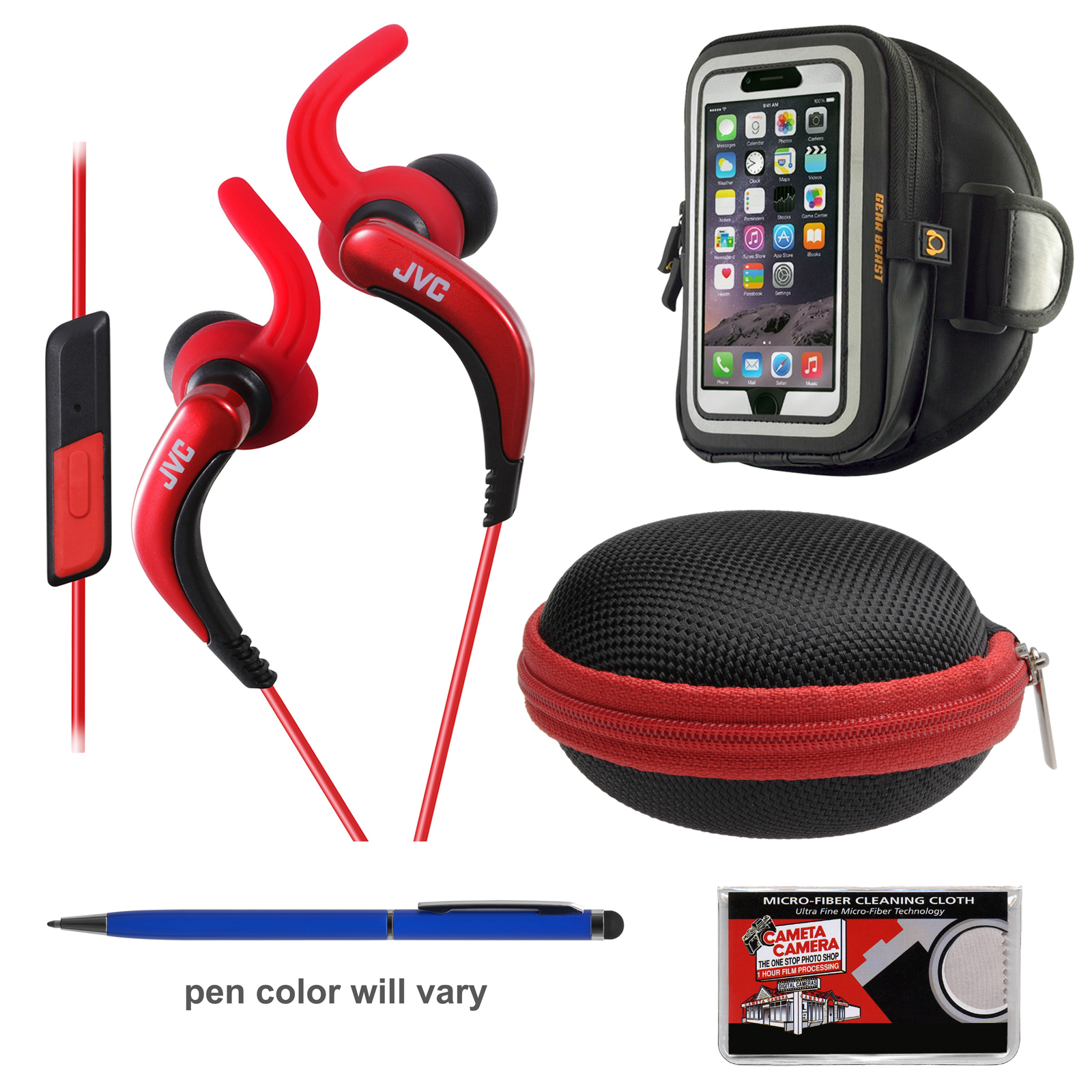 JVC HA-ETR40 Inner Ear Headphones with Remote & Mic (Red) + Hard Case + Smartphone Sport Armband + Kit