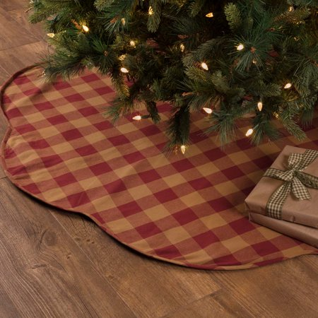 "Burgundy Red Primitive Christmas Decor Burgundy Check Cotton Check 60"" Diameter Tree Skirt - Walmart.com"
