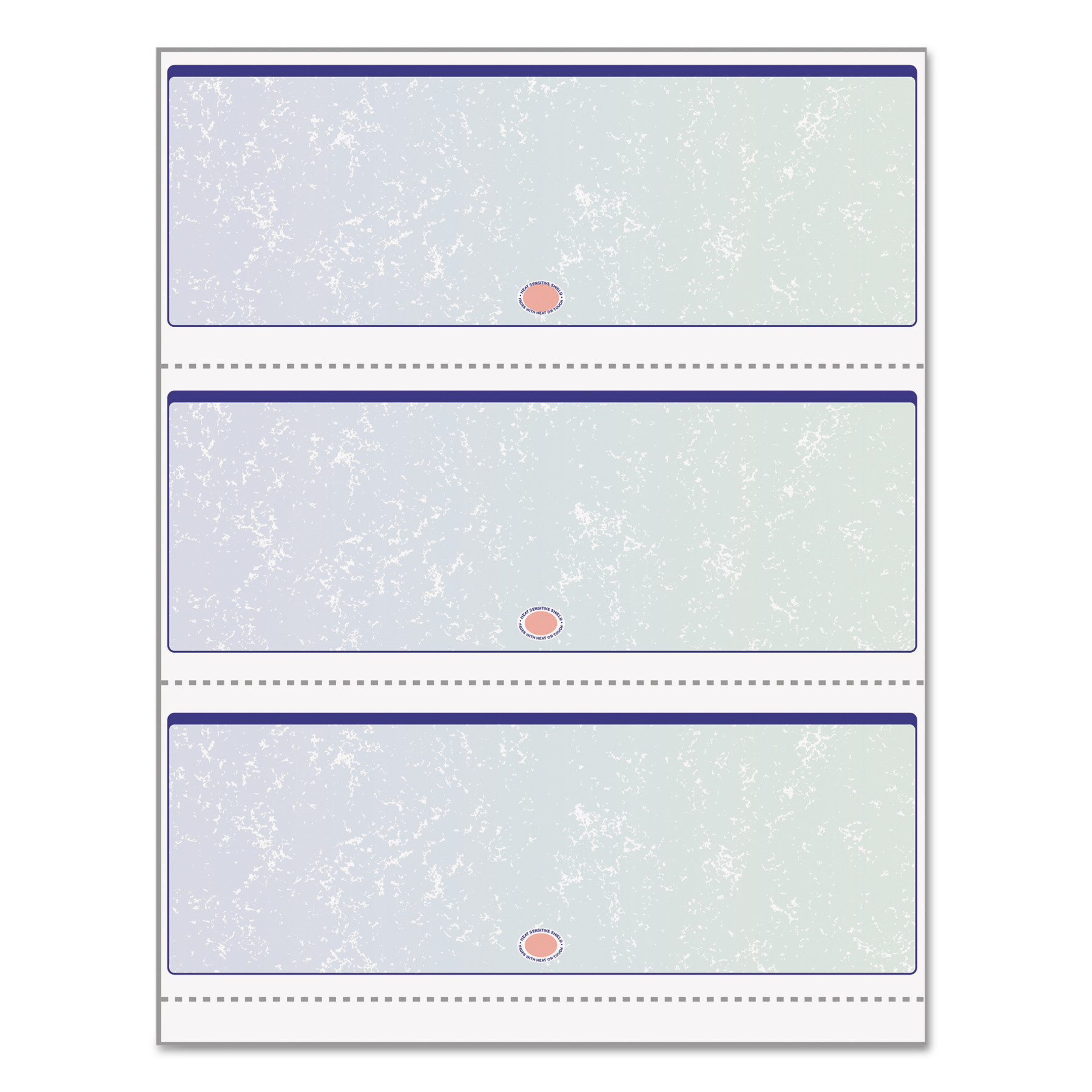DocuGard Premier Prismatic Check, Blue/Green, 3/Page, 13 Features, 8 1/2 x 11, 500/RM