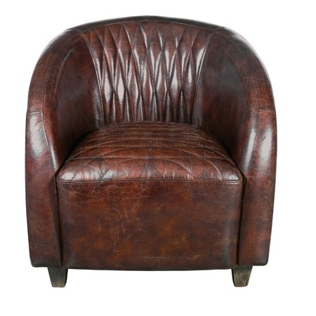 Continental Quilted Leather and Copper Club Chair in Chestnut Brown Eco Leather Club Chair