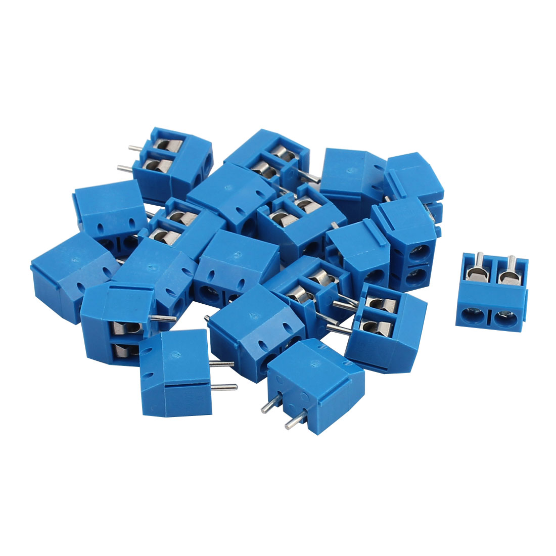20Pcs ZB-301 AC300V 10A 2P 5mm Pitch Screw PCB Terminal Blocks Connector Blue