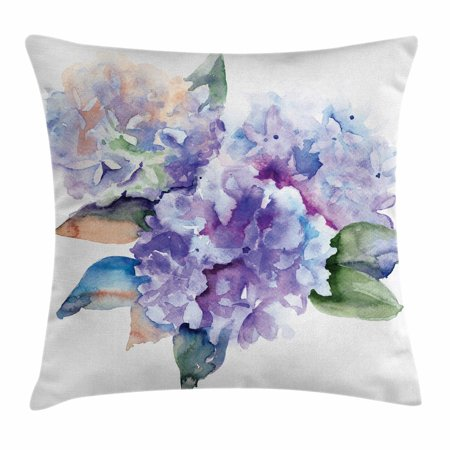 Watercolor Throw Pillow Cushion Cover Delicate Hydrangea Flowers Interesting Hydrangea Decorative Pillows