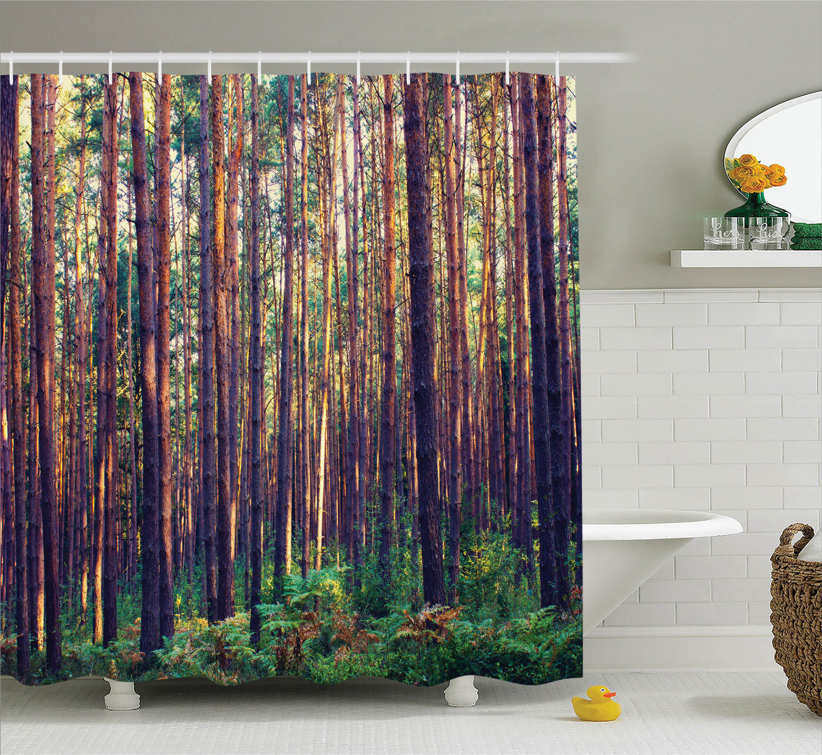 Farm House Decor Shower Curtain Set, Forest In The Morning Light Tall Trees Trunks Greenery Natural Environment Picture, Bathroom Accessories, 69W X 70L Inches, By Ambesonne