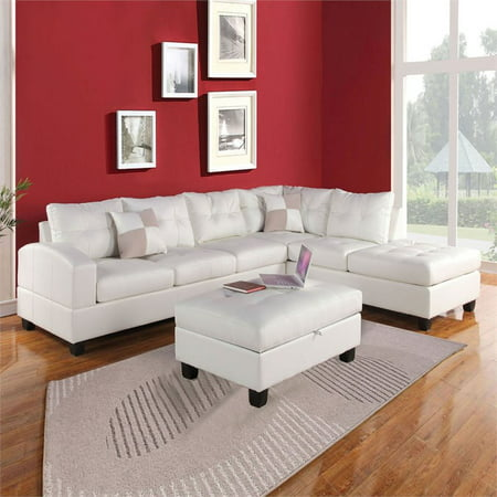 ACME Kiva Reversible Sectional in White Bonded Leather Match ()