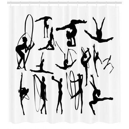 Gymnastics Shower Curtain, Olympic Athlete Silhouettes Aerobics Themed Monochrome Ribbon Dancing Women, Fabric Bathroom Set with Hooks, 69W X 84L Inches Extra Long, Black White, by Ambesonne (The Olympic Theme)