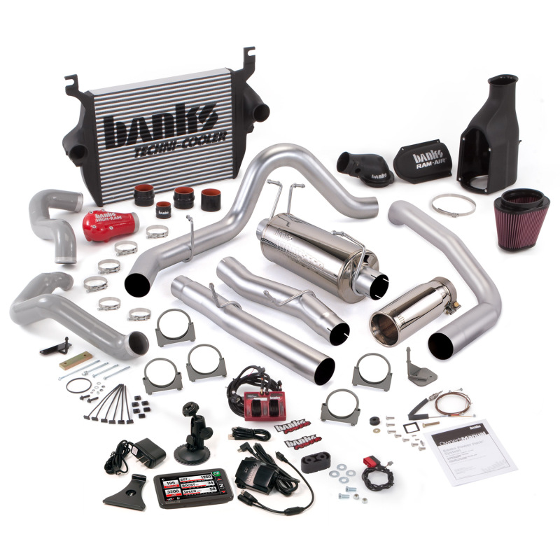 Banks Power 05-07 Ford 6.0L CCLB Big Hoss Bundle - SS Single Exhaust w/ Chrome Tip