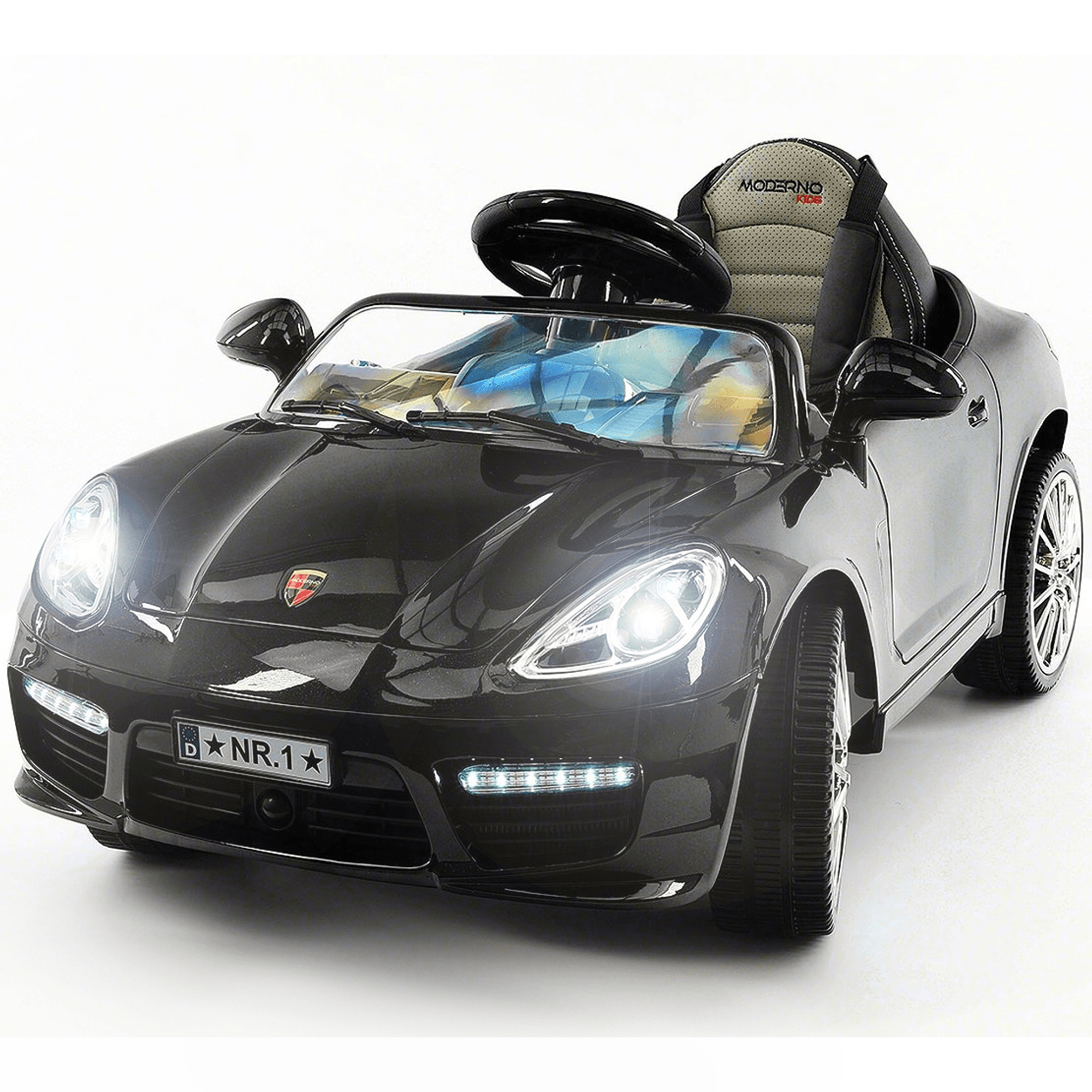 2019 Kids Sports 12V Ride On Car Battery Powered W/ Dining Table, Leather Seat, LED Lights