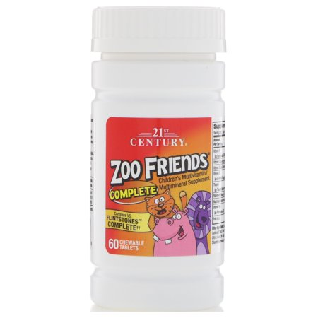 21st Century, Zoo Friends Complete, 60 Chewable Tablets(pack of 12)