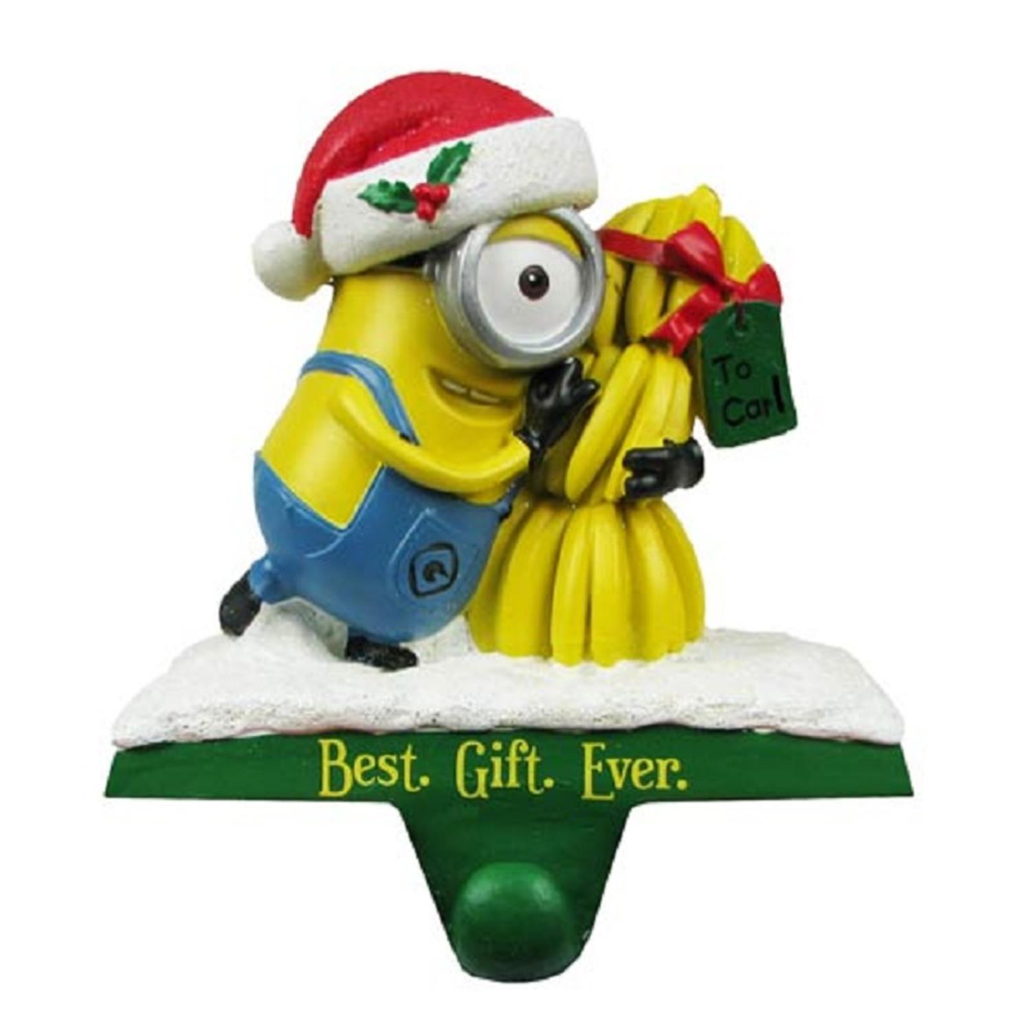 """5"""" Despicable Me Minion Carl """"Best. Gift. Ever."""" Christmas Stocking Holder"""