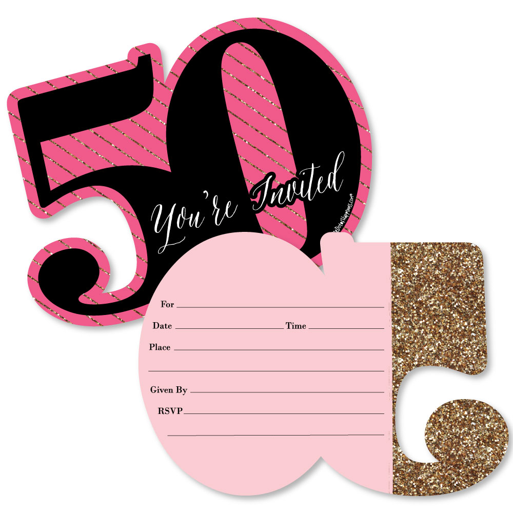 Chic 50th Birthday - Pink, Black and Gold - Shaped Fill-In Invitations - Birthday Party Invitations - Set of 12