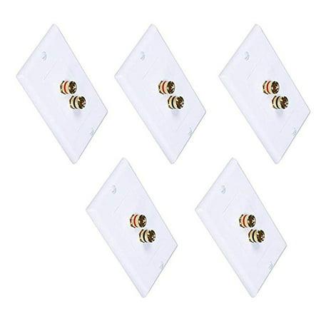 iMBAPrice (5 Pack) Premium 2 Connector Banana Wall Plate - Banana Plug Binding Post Wall Plate for -