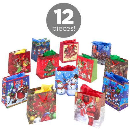 Assorted Gift Bags - Assorted Christmas Gift Bags, 12ct