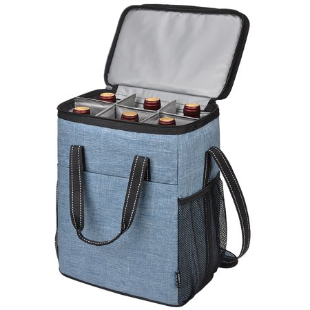 e8cd87077032 Kato 6 Bottle Wine Carrier, Insulated Leakproof Padded Wine Cooler Carrying  Tote Bag for Travel, Camping and Picnic, Perfect Wine Lover Gift