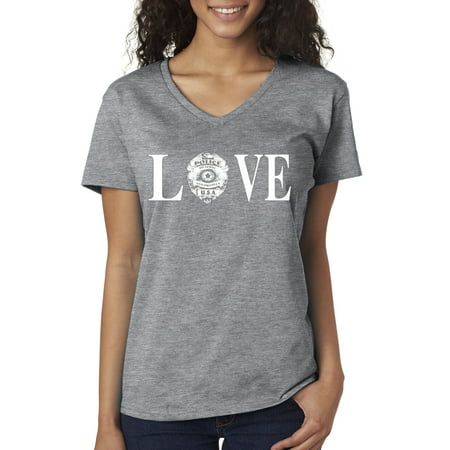 New Way 146 - Women's V-Neck T-Shirt Love Police Cops Law Enforcement