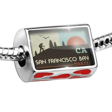 Bead US Hiking Trails San Francisco Bay Trail - California Charm Fits All European (Best Hiking Trails In San Francisco Bay Area)