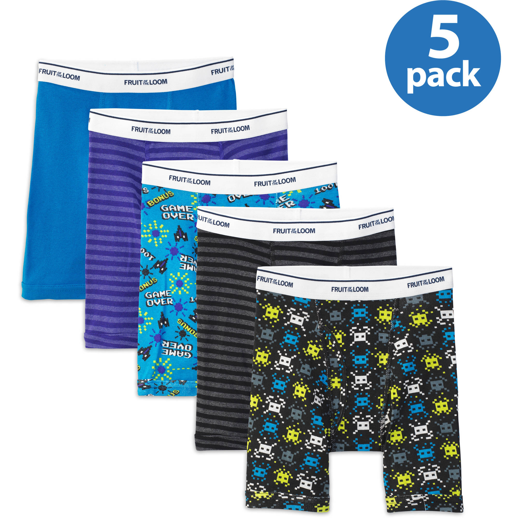Fruit of the Loom Boys' Print/Solid/Stripe Boxer Brief, 5 Pack
