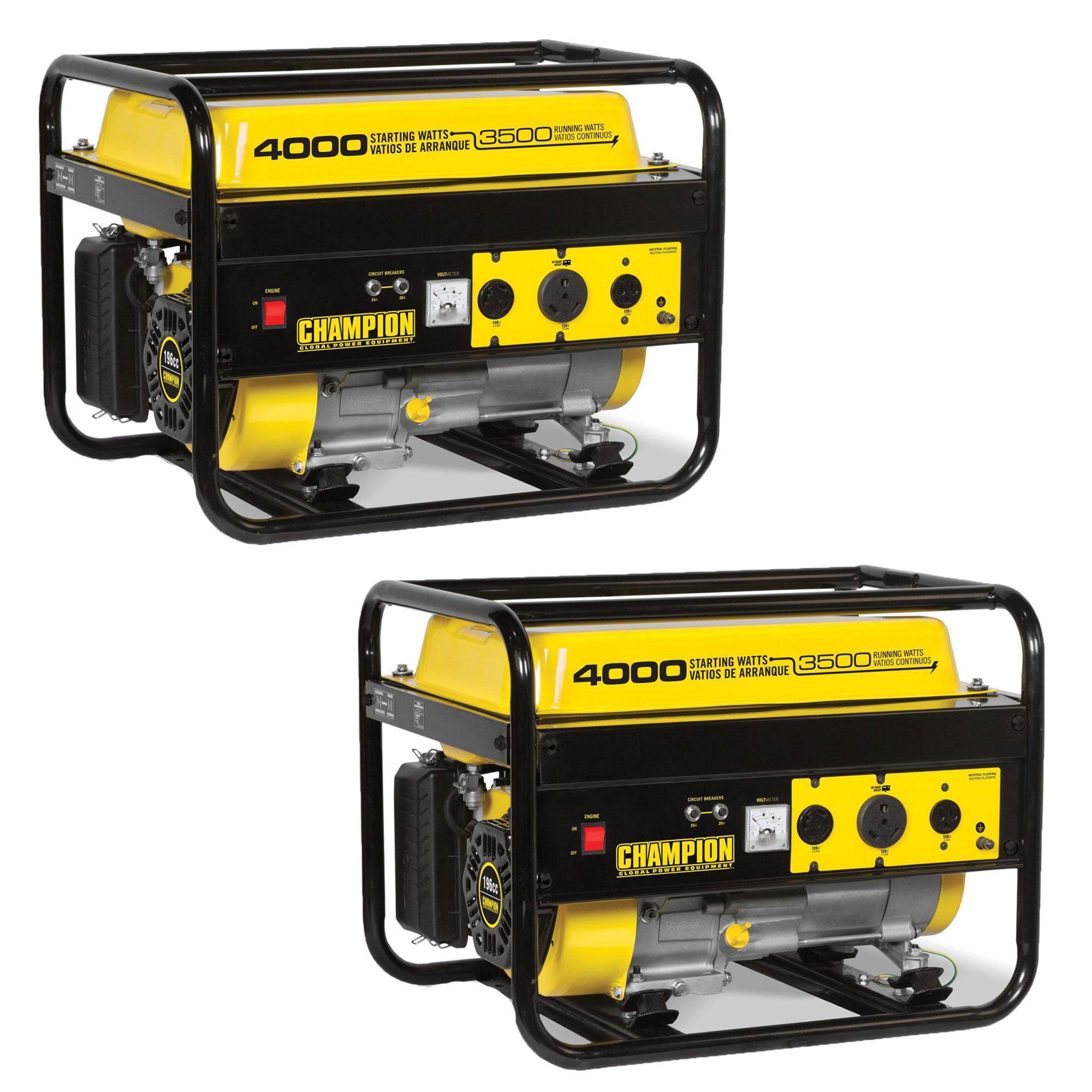 Champion 3500 Watt Portable Quiet Recoil Start Gas Home & RV Generator (2 Pack)