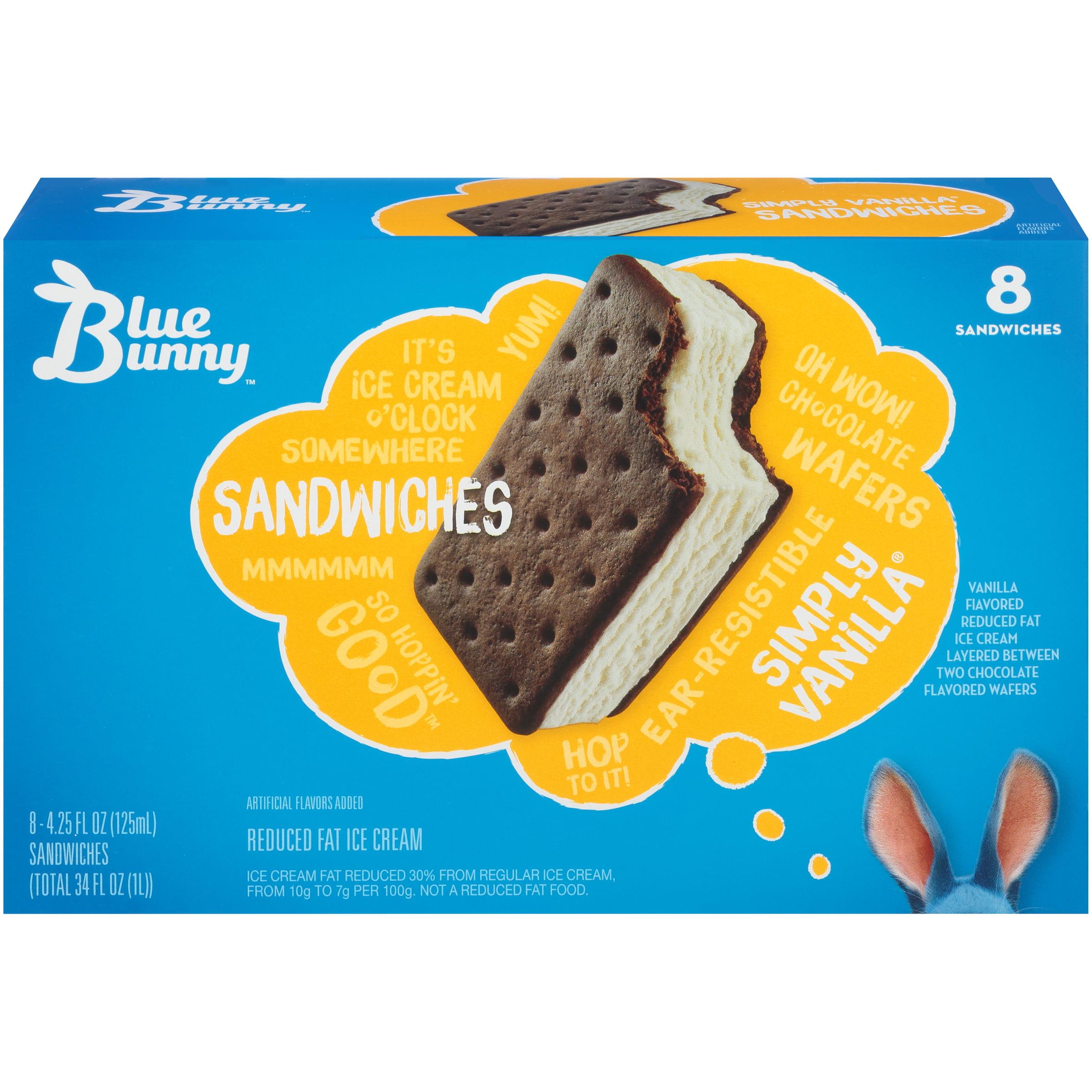 Swell Blue Bunny Simply Vanilla Ice Cream Sandwich 8Pk Walmart Com Funny Birthday Cards Online Aeocydamsfinfo