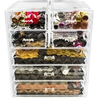 Sorbus Acrylic Cosmetic Makeup and Jewelry Storage Case Display, Spacious Design, Diamond Pattern, 3 Large/4 Small Drawers