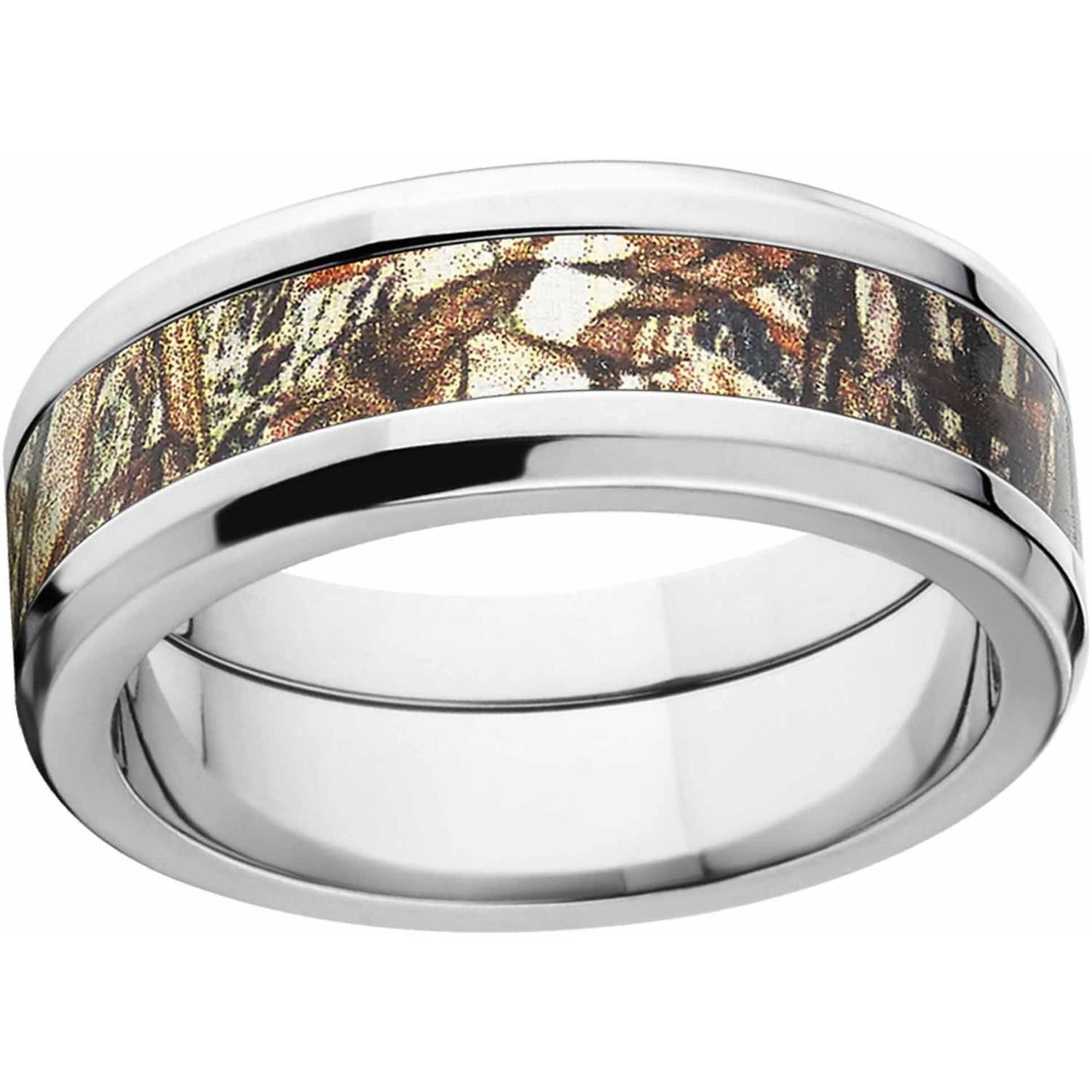 Mossy Oak Duckblind Men's Camo 8mm Stainless Steel Wedding Band with Polished Edges and Deluxe Comfort Fit