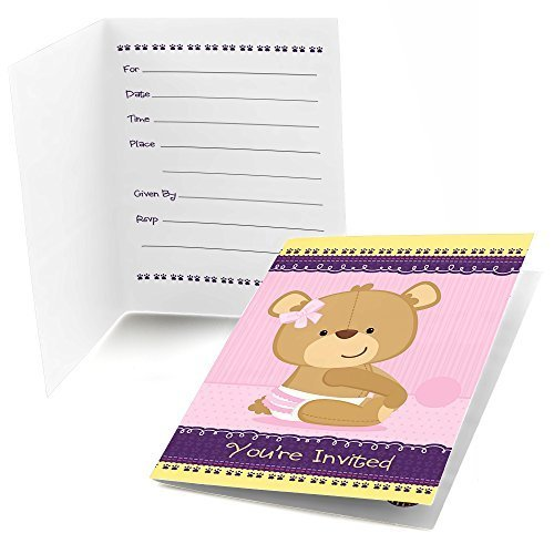 Baby Girl Teddy Bear - Fill In Baby Shower Invitations (8 count)
