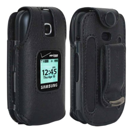 Mobile Phone Holster - Verizon Leather Fitted Case for Samsung Gusto 3 Cell Phone with Clip Holster - Black