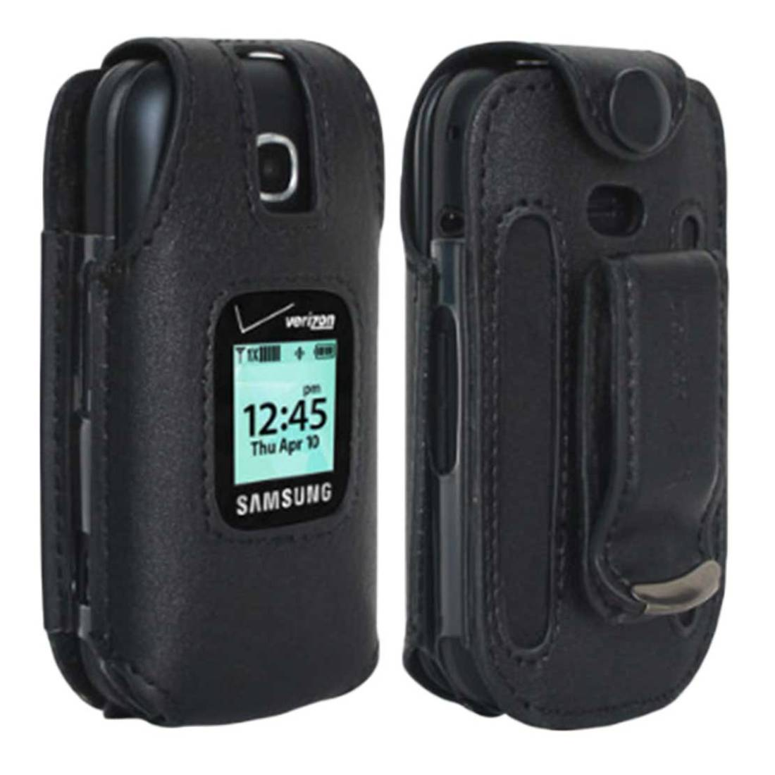 Verizon Leather Fitted Case for Samsung Gusto 3 Cell Phone with Clip Holster - Black