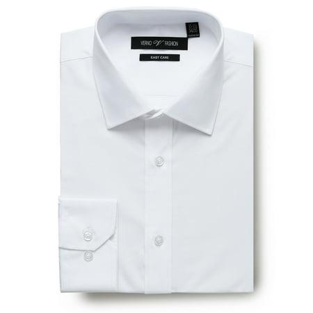 Men's Dress Shirts Regular Fit Long Sleeve Travel Easy-Care Cotton White Dress Shirt for Men