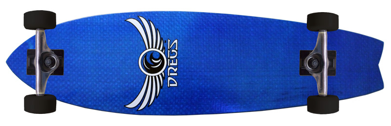 DREGS Longboard FIBERFISH BLUE FISH TAIL Skateboard by
