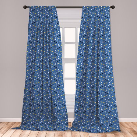 Astrology Curtains 2 Panels Set, Night Sky with Constellations Concept of Astrology Birthday Holiday Spirit, Window Drapes for Living Room Bedroom, Blue Multicolor, by Ambesonne ()