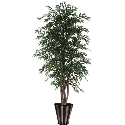 6' Green Artificial Smilax Tree in Silver and Black Pot