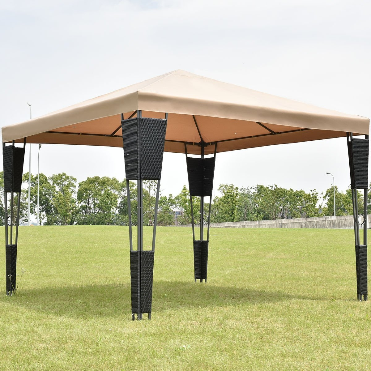 New MTN-G MTN-G Outdoor 10'x10' Rattan Wicker Gazebo Canopy Tent Shelter Awning W Brown Cover by MTN Gearsmith