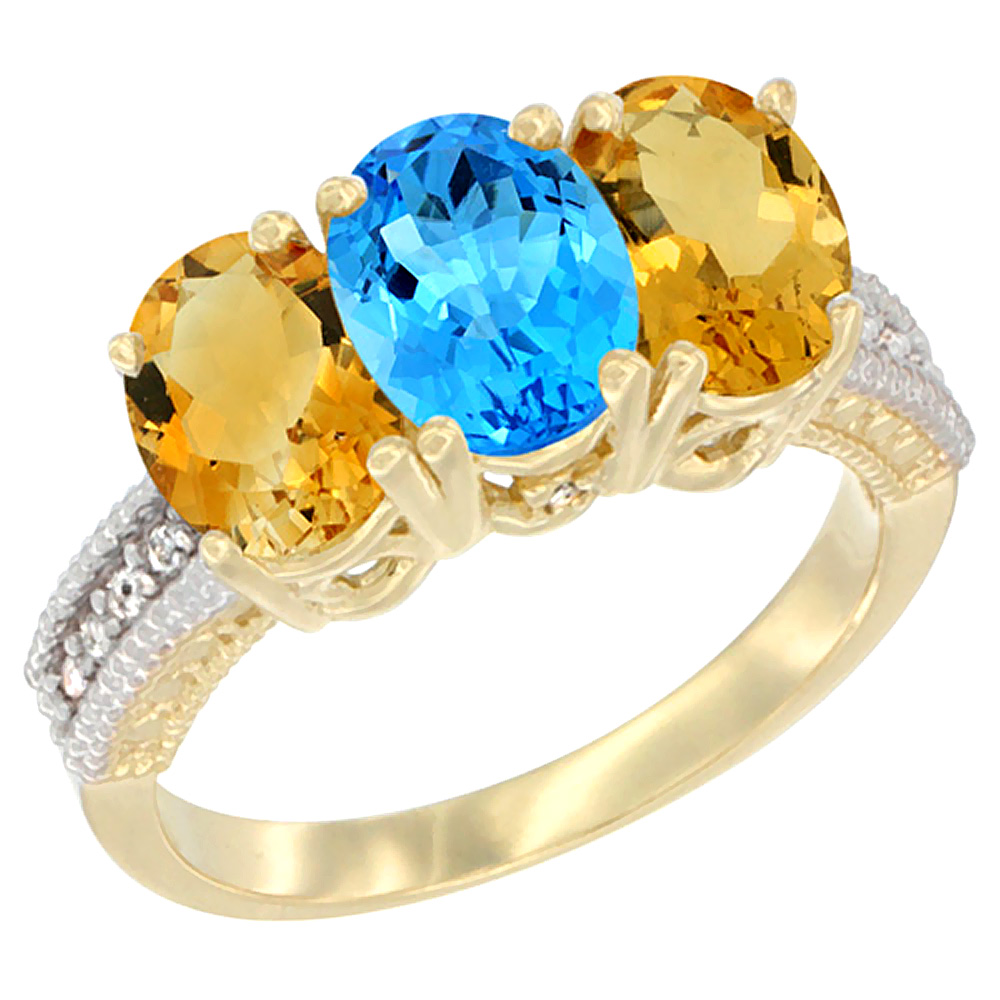 10K Yellow Gold Diamond Natural Swiss Blue Topaz & Citrine Ring 3-Stone 7x5 mm Oval, sizes 5 10 by WorldJewels