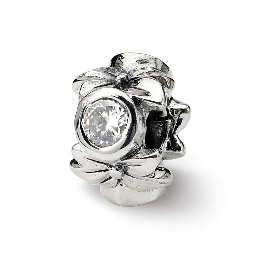 Sterling Silver Antique finish Reflections SimStars Hearts Bead Charm
