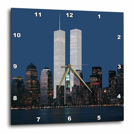 New York Rangers Team Clock - 3dRose New York City evening skyline featuring the Twin Towers, Wall Clock, 15 by 15-inch