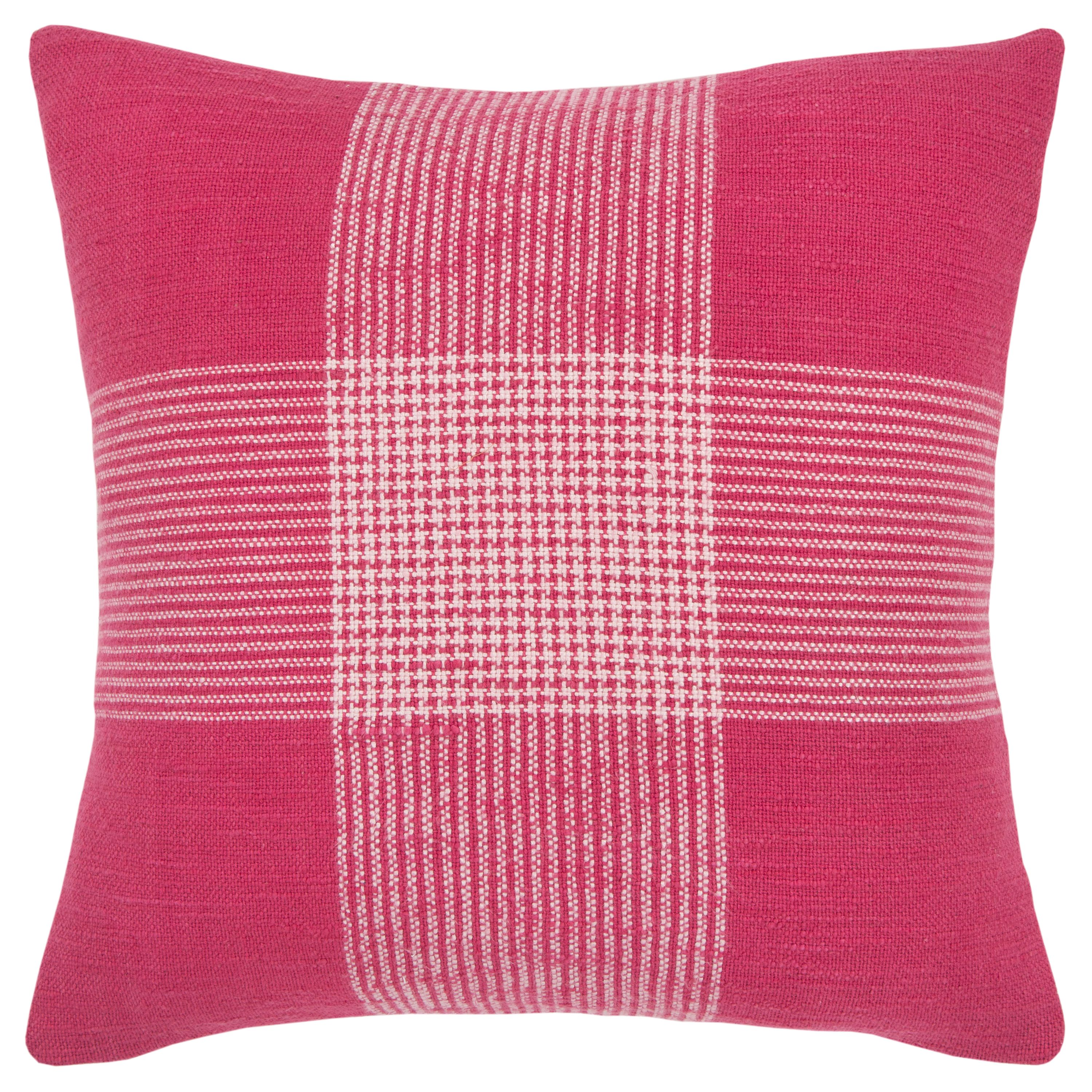 """Rizzy Home Decorative Throw Pillow Cover Plaid 20""""X20"""" Pink"""
