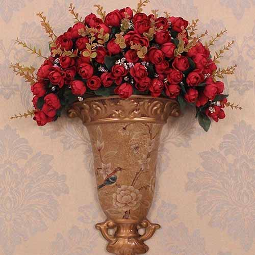 Girl12Queen 1Pc 15 Heads 5 Branches Artificial Rose Buds Wedding Home Decor False Flowers