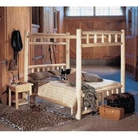82 Cedar Log Style Wooden Handcrafted King Canopy Bed Frame