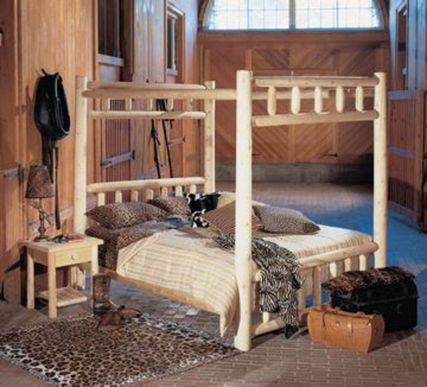 "80"" Cedar Log-Style Handcrafted Wooden Twin Canopy Bed Frame"