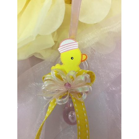 CHARMED Yellow Ducky Pacifier Necklaces Baby Shower Games Favors Prizes Pink Baby Girl's Cute and Adorable 12PC - Baby Shower Rubber Ducky Theme
