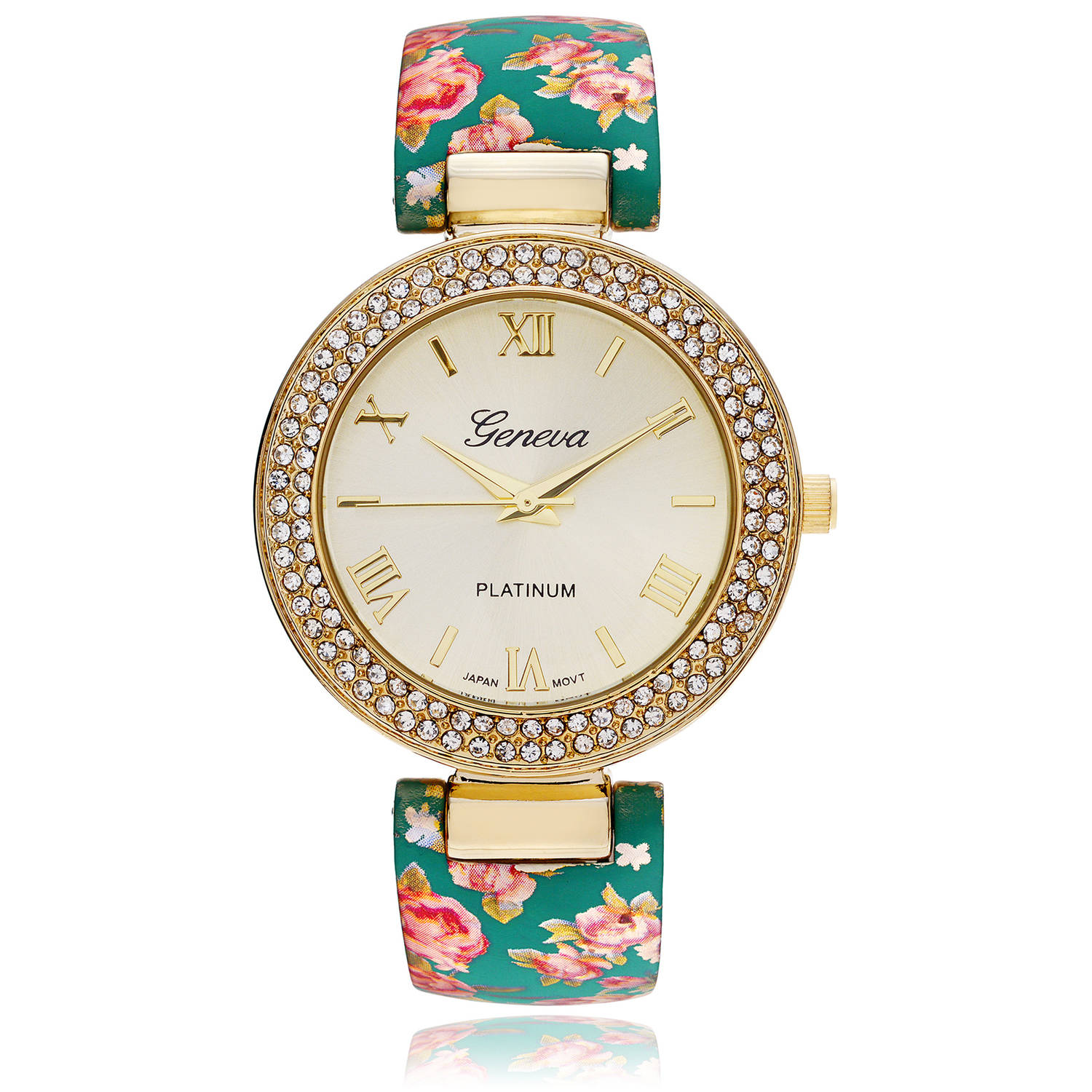 Brinley Co. Women's Rhinestone Accent Floral Cuff Fashion Watch, Gold/Turquoise