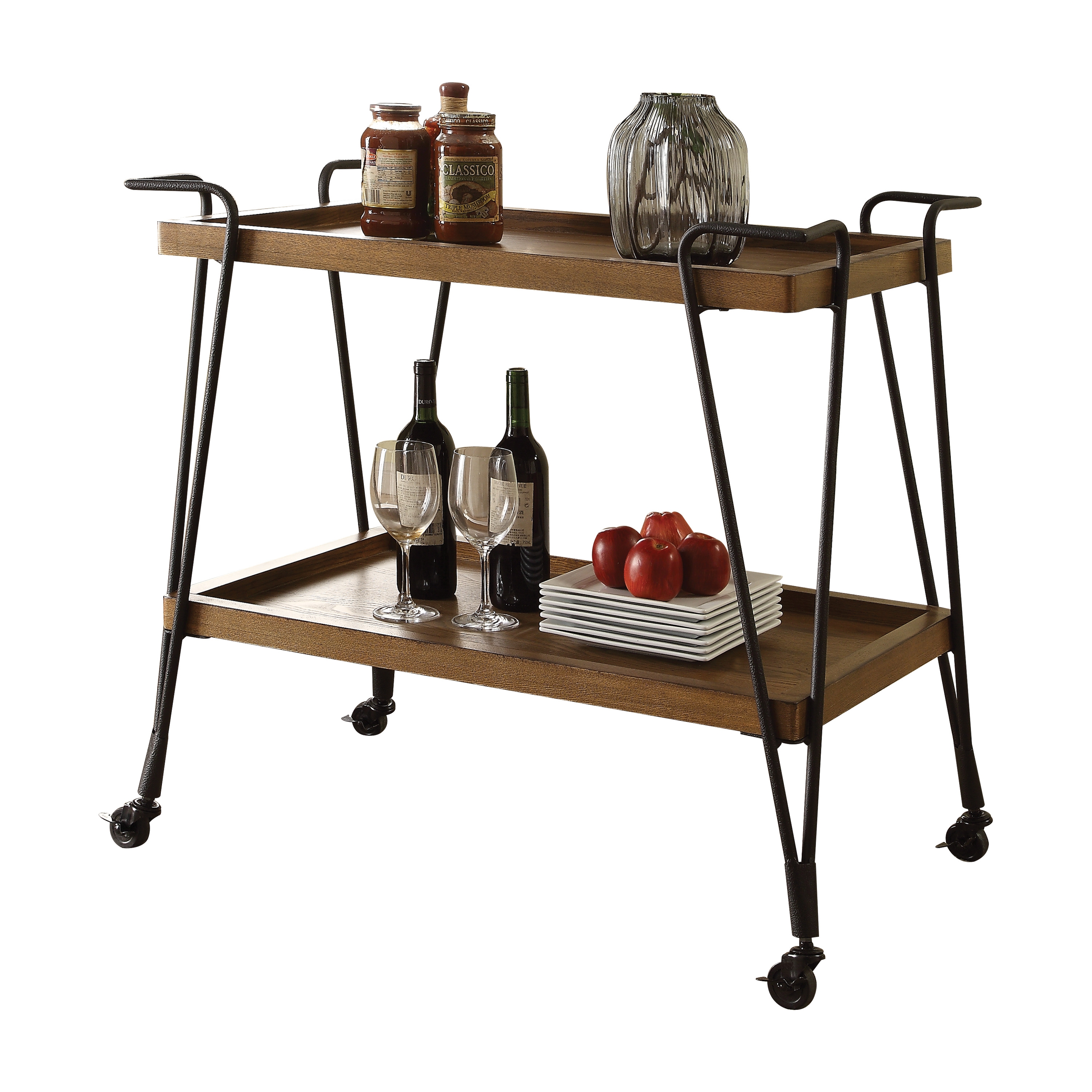 ACME Morais 2 Tiers Serving Cart in Oak and Black by Acme Furniture